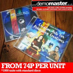 CDs or DVDs in Slimline Jewel Cases with insert and delivery.