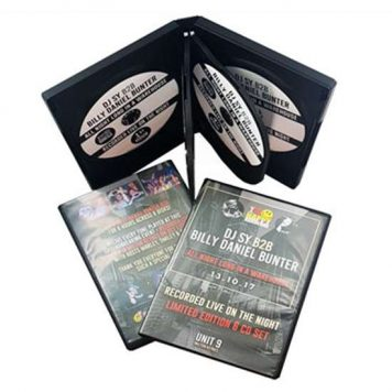 2, 3, 4, 6, 8 or 10CD or DVD in custom printedDVD Cases and delivery.