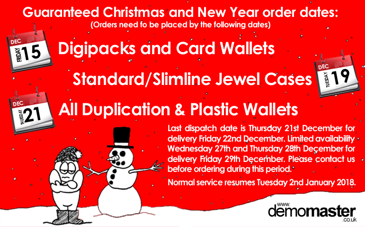Christmas order dates for CD printing DVD duplication and replication