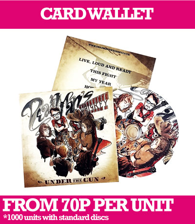 CD or DVD in custom printed Card Wallets and delivery.