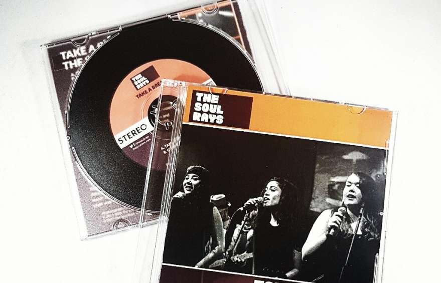 Straight up funk band The Soul Rays with their vinyl look cds